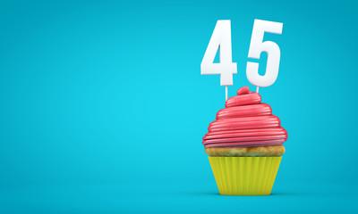 Number 45 birthday celebration cupcake. 3D Rendering