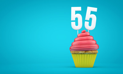 Number 55 birthday celebration cupcake. 3D Rendering