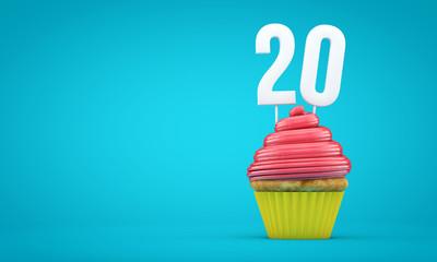 Number 20 birthday celebration cupcake. 3D Rendering