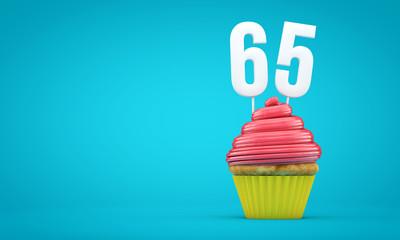 Number 65 birthday celebration cupcake. 3D Rendering