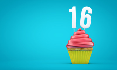 Number 16 birthday celebration cupcake. 3D Rendering