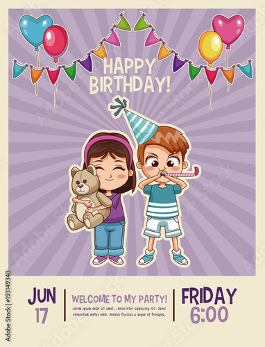 Happy birthday kids invitation card vector illustration graphic happy birthday kids invitation card vector illustration graphic design stopboris Choice Image