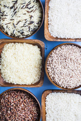 Six bowls with different varieties of rice