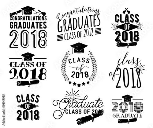 """Graduation wishes overlays labels set. Monochrome ..."