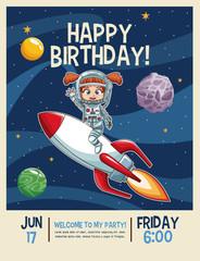 Happy birthday invitation card, astronauts kids cartoons vector illustration graphic design childhood space party
