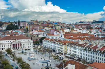 View of Rossio square in the central Lisbon, Portugal