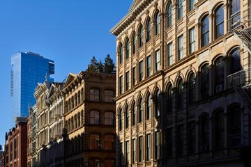 Soho loft building facades at Sunset. Manhattan, New York City