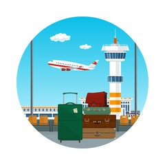 Icon of Traveler's Luggage at the Airport, View through the Window at the Runway with Airplanes and Control Tower, Travel and Tourism Concept, Vector Illustration