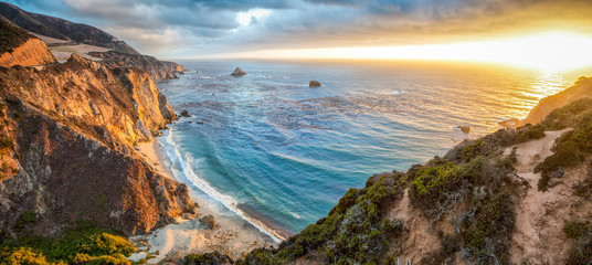 Poster United States Big Sur coastline panorama at sunset, California, USA
