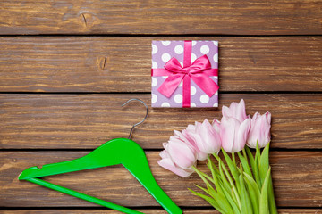 Tulips and gift box with hanger