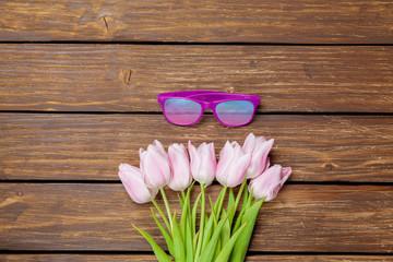 eyeglasses and tulips