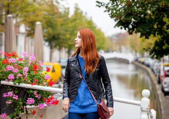 Young girl in Amsterdam in springtime