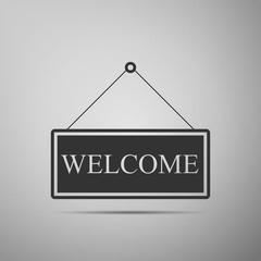 Hanging sign with text Welcome icon isolated on grey background. Business theme for cafe or restaurant. Flat design. Vector Illustration
