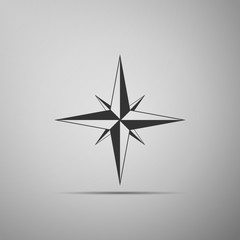 Wind rose icon isolated on grey background. Compass icon for travel. Navigation design. Flat design. Vector Illustration