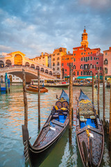 Canal Grande with Gondolas and Rialto Bridge at sunset, Venice, Italy