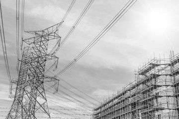 High Voltage Power Line The need for urban construction concept background