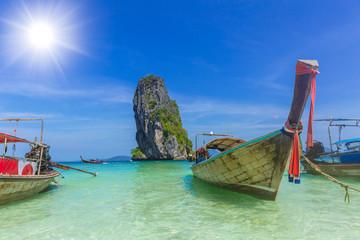 Wooden boat for tourist in Thailand sea travel Phiphi Phuket krabi island in summer season concept