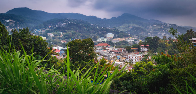 Blue sunset view in Kandy - second largest city located in the Central Province, Sri Lanka, Asia
