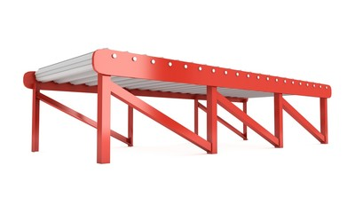 Regular empty roller conveyor section. 3d render isolated on white