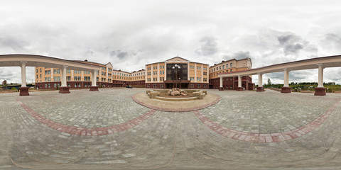 360 panorama near a beautiful modern building with columns in a circle. Full 360 by 180 degree angle view seamless panorama in equirectangular spherical projection. Skybox for VR AR content