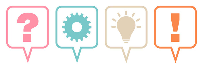 Speechbubbles Question, Work, Idea & Answer Retro Outline