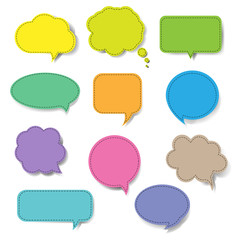 Colorful Speech Bubble Set Isolated