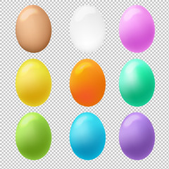 Colorful Eggs Big Set Transparent Background