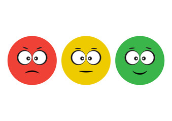 Red, yellow, green smileys emoticons icon negative, neutral and positive, different mood. Funny characters. Vector illustration