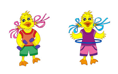 Cartoon ducklings girls and sports