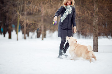 Picture of woman playing with labrador in snowy park