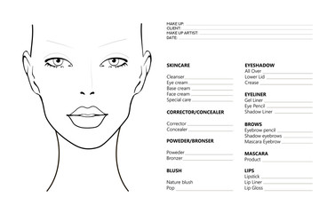 Face chart Makeup Artist Blank. Template. Vector illustration. Beauty face chart. Beautiful woman with open eyes. Face chart Makeup Artist Blank Template. Vector illustration.