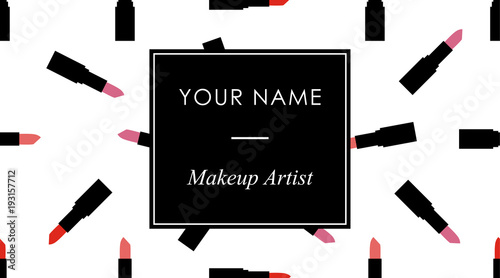 Makeup business cards template with red and pink lipstick in a flat makeup business cards template with red and pink lipstick in a flat style on a black cheaphphosting Choice Image