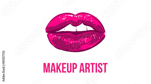 Makeup artist business card business cards template with pink open makeup artist business card business cards template with pink open lips print elegant fashion cheaphphosting Gallery