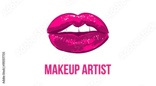Makeup artist business card business cards template with pink open makeup artist business card business cards template with pink open lips print elegant fashion wajeb Images
