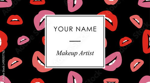 Makeup business cards template with red and pink lips print in a makeup business cards template with red and pink lips print in a flat style on a friedricerecipe Image collections