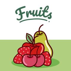Set of fruits cartoon
