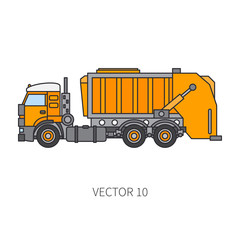 Color flat vector icon construction machinery garbage truck tipper. Industrial style. Corporate cargo delivery. Commercial transportation. Dump recycling. Business. Diesel power. Illustration design.
