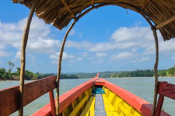 Boat sailing on Usumacinta river, Chiapas, Mexico