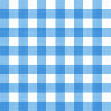 Vector linen gingham checkered blanket tablecloth. Seamless white blue cloth table pattern background with natural textile texture. Retro country fabric material for holiday breakfast or dinner picnic
