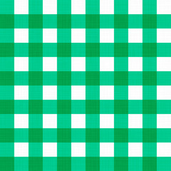 Vector linen gingham checkered blanket tablecloth. Seamless white green cloth table pattern background with natural textile texture. Retro country fabric material for holiday breakfast dinner picnic