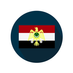 Old flag of Egypt on a white background. Flag in blue circle with long shadow.