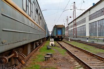 Passenger and freight train. Passenger diesel train traveling speed railway wagons journey light