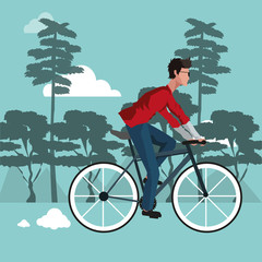 Man on bike riding vector illustration graphic design