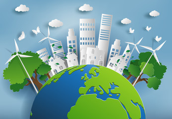 Paper art style of landscape with eco green city, save the planet and energy concept, flat-style vector illustration.