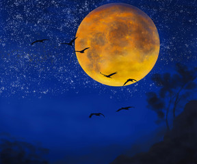 Birds fly in the night starry sky against the background of the big moon