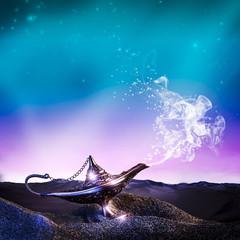 aladdin lamp in desert