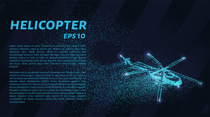 The helicopter of the particles. The helicopter consists of dots and circles. Blue helicopter on a dark background.