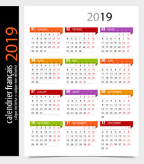 Calendrier 2019 Francais Avec Jours Feries Modifiable Acheter Ce