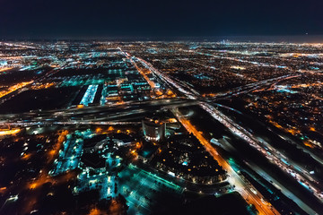 Aerial view of Los Angeles, CA near LAX at night