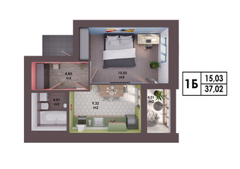 3d render plan / layout of a modern one bedroom apartment, top view